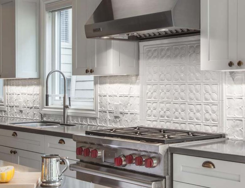 Contemporary Industrial Kitchen Feature Tile