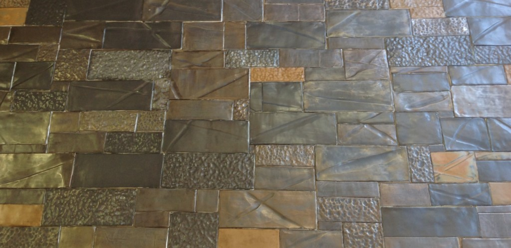 Handmade Ceramic Tiles With Metal Glazes And Mixtures Of